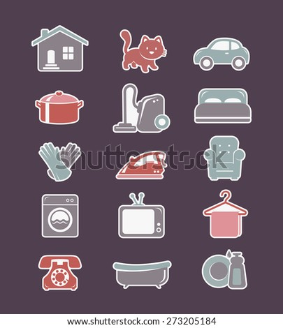 House cleaning and household appliances flat icons - stock vector