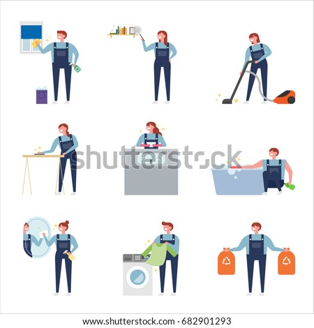 house cleaning people character vector illustration flat design