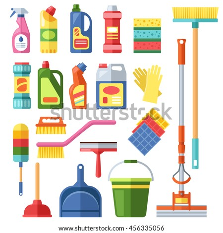 Pictures of cleaning materials at home.