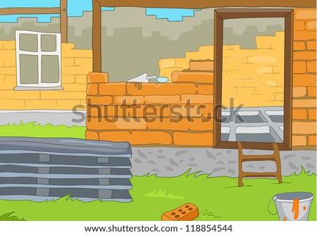 House Construction. Cartoon Background. Vector Illustration EPS 10. - stock vector