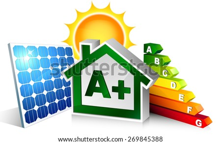house energetic with photovoltaic  - stock vector