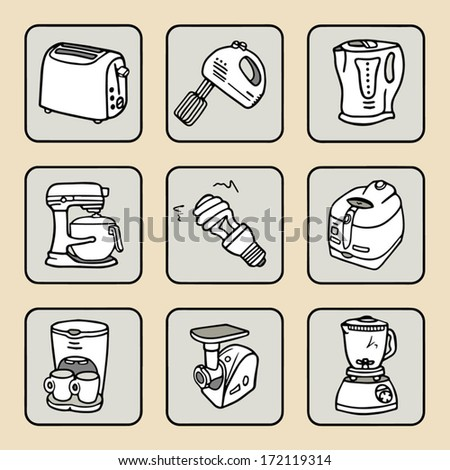 House equipment icons set, living conditions, Home appliances doodle icons, hand drawn sketch vector collection - stock vector