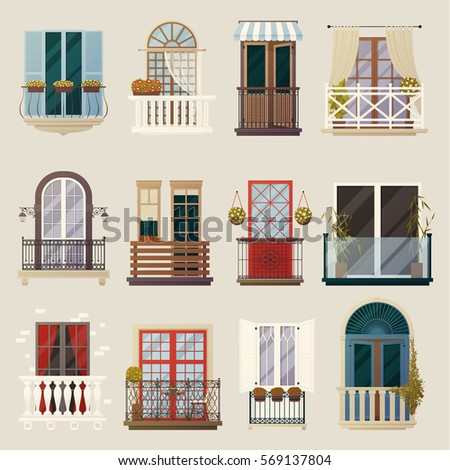 House Exterior Design Ideas Modern Vintage Stock Vector 569137804