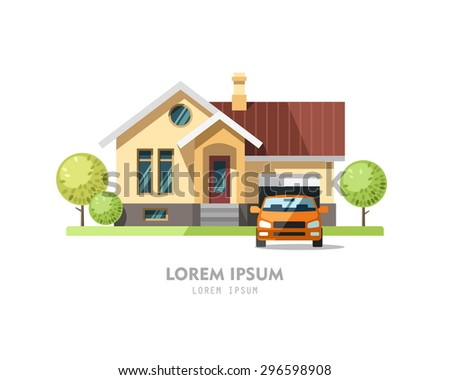 House facade. Traditional cottage. Vector illustration. - stock vector