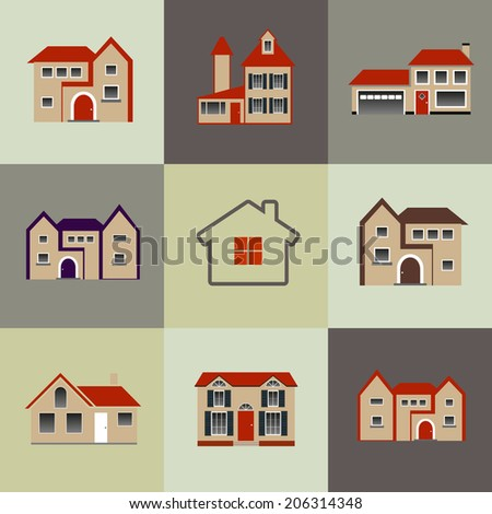 House flat Icon vector - stock vector