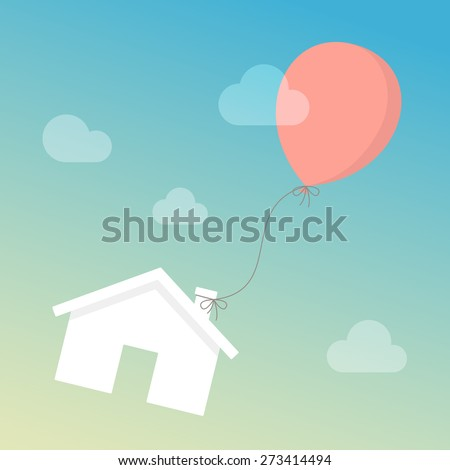 House floating in the sky with balloon. Real estate investment concept - stock vector