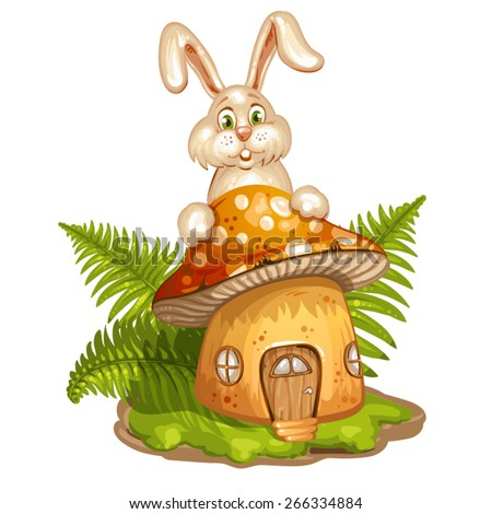 House for gnome made from mushroom and rabbit - stock vector