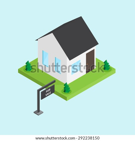 house for sale isometric - stock vector