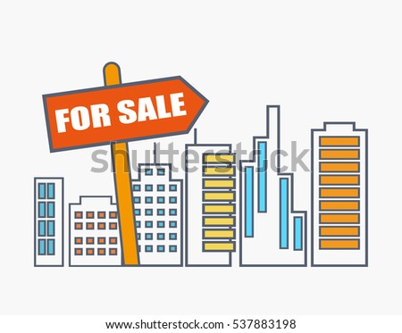 Flat Line Illustration Design Commercial Property Stock Vector