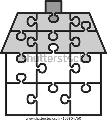 house from puzzles - vector illustration - stock vector