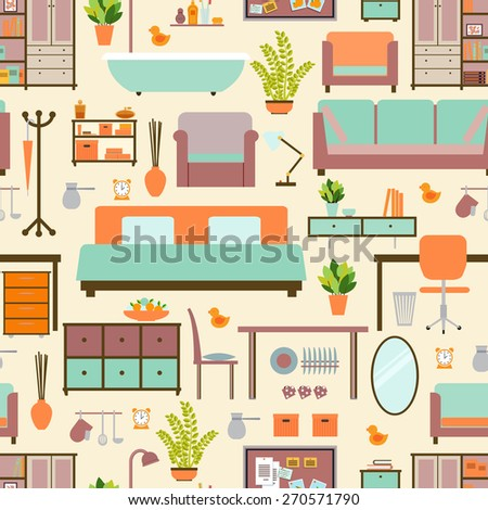 House furniture pattern seamless, background home, object decoration, sofa and indoor, vector illustration