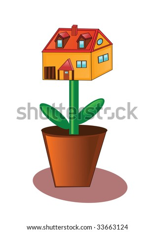 House growing in flowerpot.