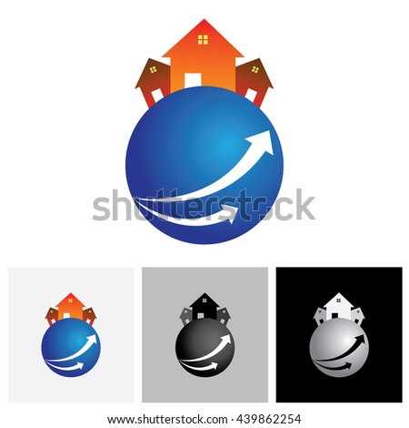House ( home ) or residence vector logo icon on a planet. The illustration is also a icon for buying & selling property, residential accommodations, rental services - stock vector
