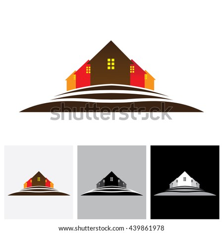 House ( home ) & residences on hill vector logo icon for real estate market. This also a icon for buying & selling property, residential accommodations, offices, etc - stock vector