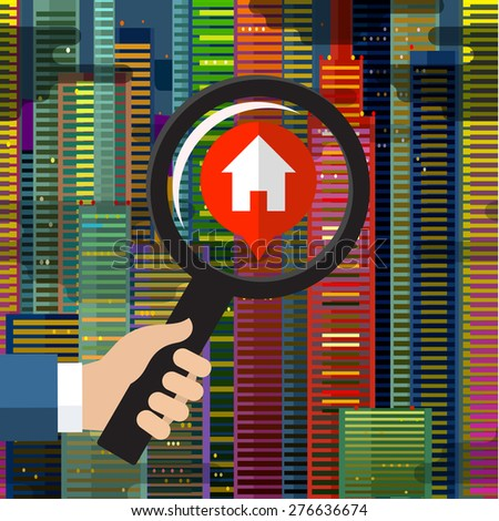 House hunting and searching for real estate homes for sale that need to be inspected by a home inspector concept as a magnifying glass inspecting a model single home building structure. - stock vector
