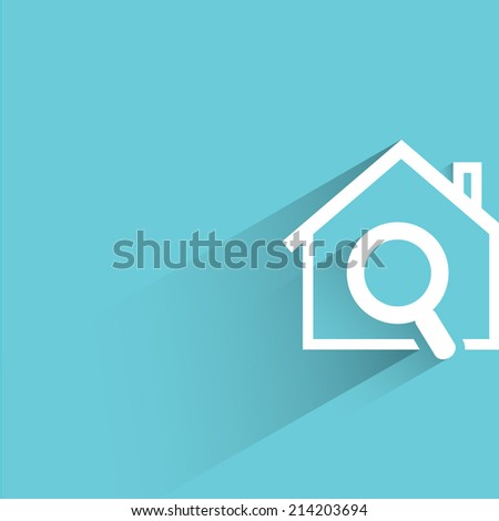 house hunting, blue background - stock vector