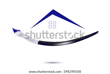 House Icon Design. Painters choice, house paint, repair, painting services, painting logo. Vector logo template. - stock vector