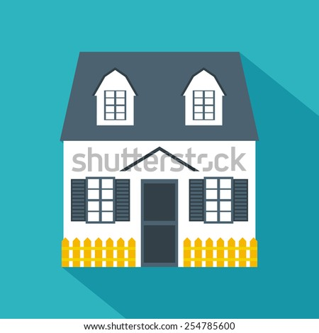 House icon. Flat design. Vector illustration - stock vector