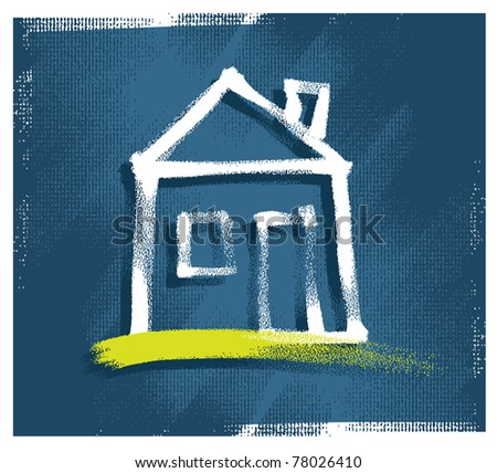 house icon, freehand drawing, vector - stock vector