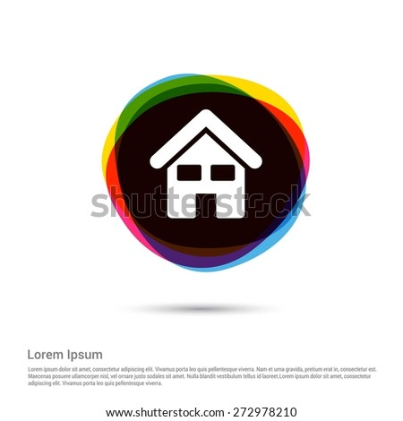 house icon. Home icon, White pictogram icon creative circle Multicolor background. Vector illustration. Flat icon design style - stock vector