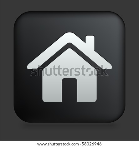 House Icon on Square Black Internet Button Original Illustration - stock vector