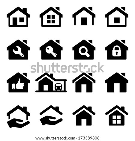 house icon set, black color, for business - stock vector