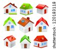 House icon set isolated on white background. Vector - stock photo