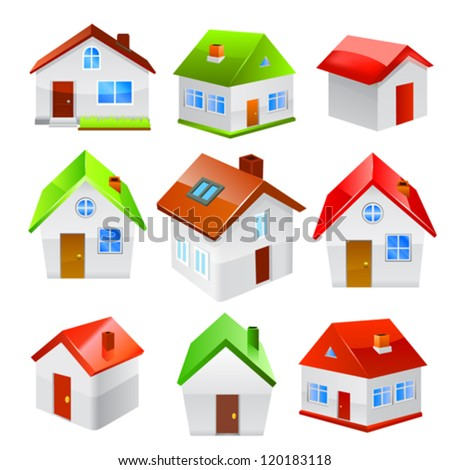 House icon set isolated on white background. Vector - stock vector