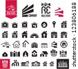 House icons. Real estate. Cityscape. Building. - stock vector