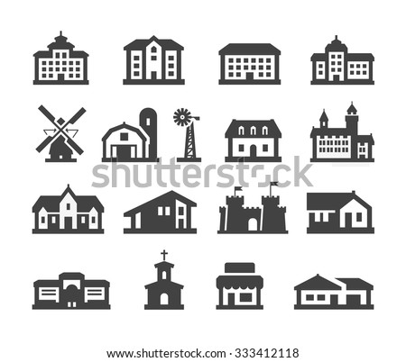 house icons set. collection elements hotel, real estate, school, castle, palace, church, store, shopping mall, cinema, home, farm, campus - stock vector