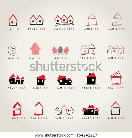 House Icons Set - Isolated On Gray Background - Vector Illustration, Graphic Design Editable For Your Design