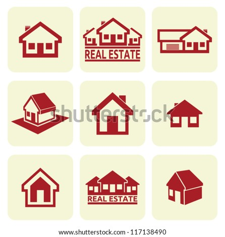 House icons set. Real estate. - stock vector