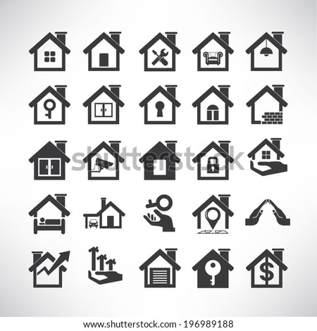 house icons set, real estate - stock vector