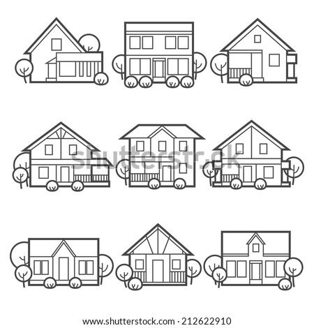 House icons set Suburb/country houses / linear flat style - stock vector
