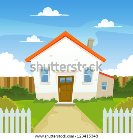 House/ Illustration of a cartoon house in spring or summer season, with backyard garden, fence and hedges - stock vector