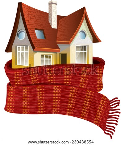 House in a scarf. Save a warm - stock vector