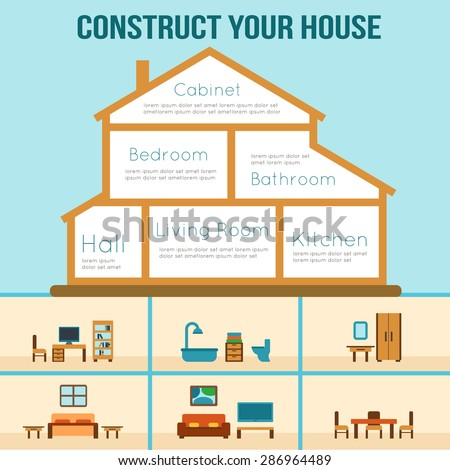 House cut detailed modern house interior stock photo photo vector house in cut detailed modern house interior furniture for different rooms flat style ccuart Choice Image