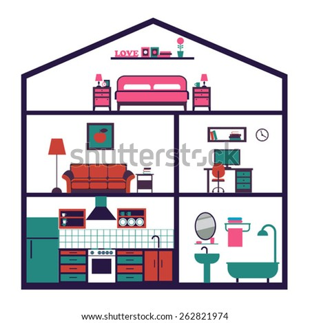 House in cut. Detailed modern house interior. Rooms with furniture. Flat style vector illustration. - stock vector
