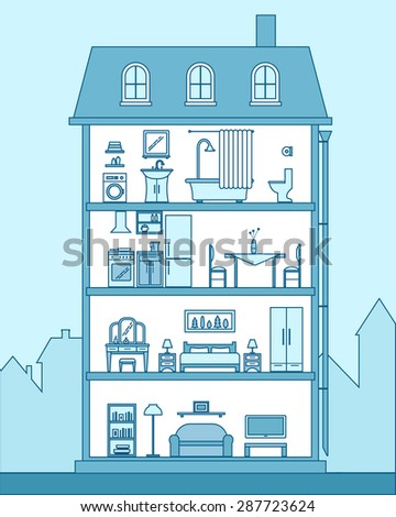 House in cut. Detailed modern house interior. Rooms with furniture.  Outline style vector illustration. - stock vector