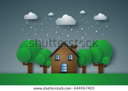 House in green field with rain , paper art style