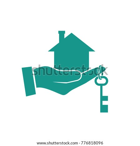 House Hand Icon Real Estate Agent Stock Vector (Royalty Free ...