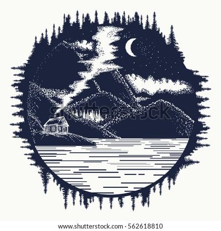 House Mountains Tattoo Art Symbol Travel Stock Vector 562618810