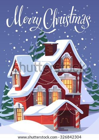 House in snowfall. Christmas greeting card \ background \ poster. Vector illustration. - stock vector
