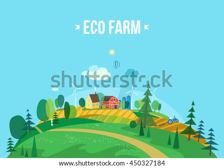 House in the woods. Farm. Eco style life. Abstract forest. Wildlife. Forest view.