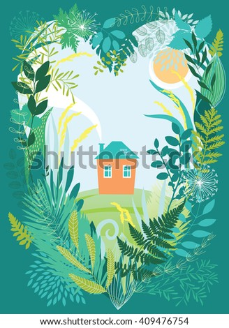 House in thickets of plants - stock vector