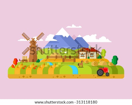 House in village. Landscape farm, rural home, meadow and windmill, flat vector illustration - stock vector