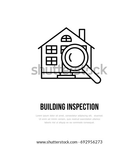 House Inspection Vector Flat Line Icon Real Estate Logo Illustration Of Building Under Glass