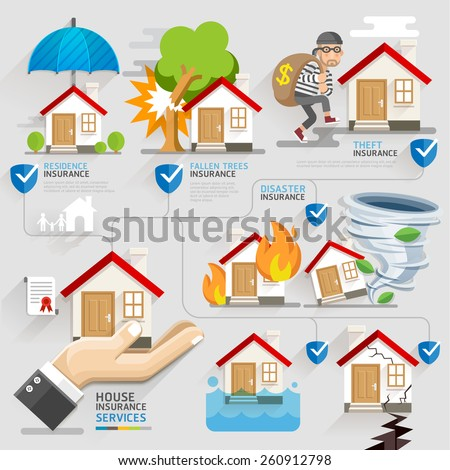 House insurance business service icons template. Vector illustration. Can be used for workflow layout, banner, diagram, number options, web design, timeline, infographics. - stock vector