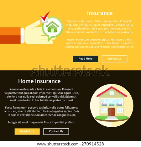 House insurance concept in flat style on banners with text and buttons read more and contact us. Can be used for web banners, marketing and promotional materials, presentation templates  - stock vector