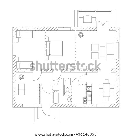 House Interior Black And White Floor Plan Of A Modern Apartment Vector Architectural Blueprint